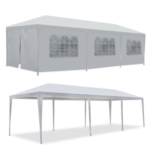 10'x30′ Canopy Party Wedding Tent Gazebo Pavilion w/8 Side Walls Outdoor White Garden Structures & Shade