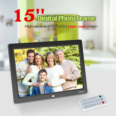 15'' LCD LED Digital Photo Picture Frame MP3 MP4 Movie + Remote Control Black