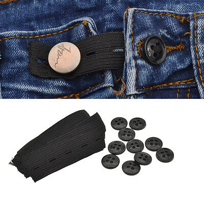 10 Pcs Jeans Pants Waist Expander Button Waistband Extender Maternity Elastic