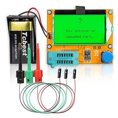 12864 LCD ESR Meter Transistor Tester Diode Capacitance MOS PNP Kit w/ Test hook
