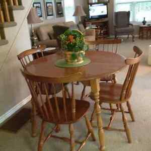 Canadian made vilas table solid wood with five chairs