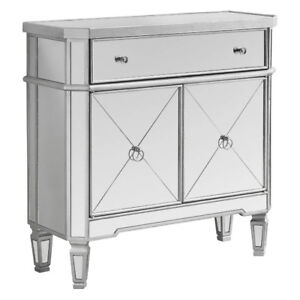 Monarch Specialties I 3710 Brushed Silver/Mirrored Accent Table,