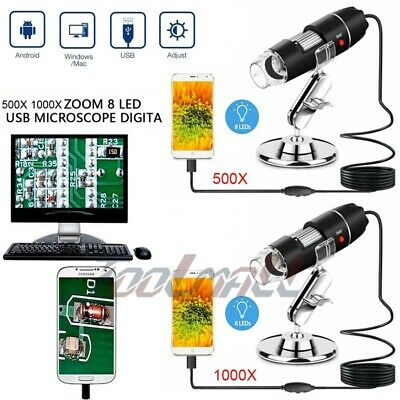 Microscope Usb Digital 2mp 500x 1000x 8 Led Endoscope Zoom Camera Magnifier Hd