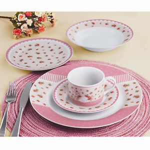 20 pcs Pink Garden Dinner Set for 4, Brand New in Box, OBO