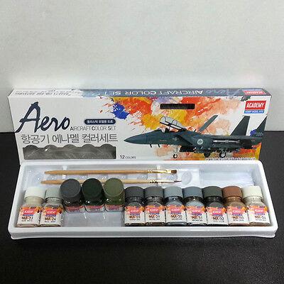 Academy 15907 Aero Aircraft Enamel Paint 12 Colors Set for Plastic Model Kit NEW