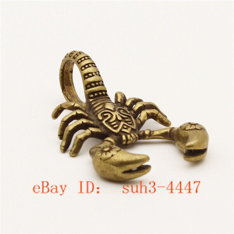 Chinese Hand Engraving Copper Bronze Brass Scorpion Small Statue Ornament