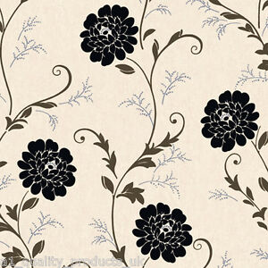 Debona wallpaper cream black floral design flower for Black and cream wallpaper