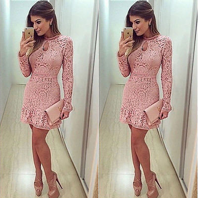 Fall Party (New Women's Summer Fall Lace Long Sleeve Party Evening Cocktail Short Mini)