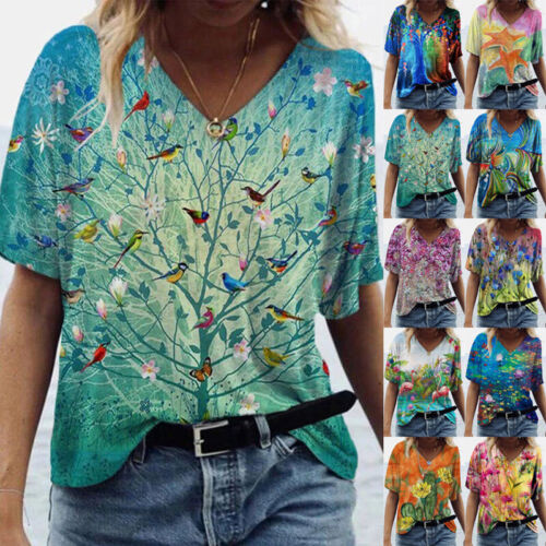 Summer Womens Casual Short Sleeve Blouse V Neck Floral Print T Shirt Loose Tunic Clothing, Shoes & Accessories