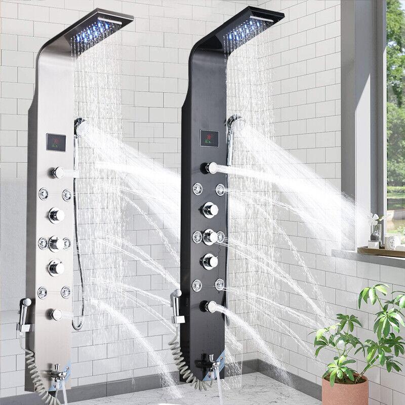 Edelstahl Duschpaneel LED Duschset Regendusche Massage Duscharmatur Duschsäule