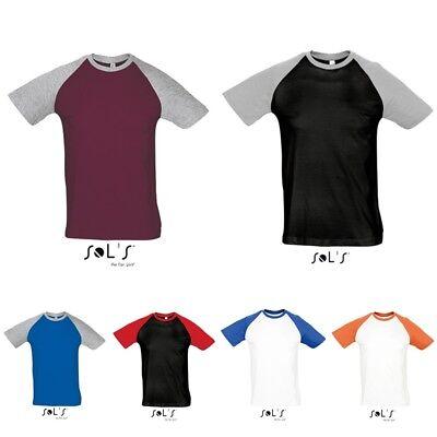 Sols Herren Mann Baseball raglan kurzarm T-Shirt L140 S M L XL XXL