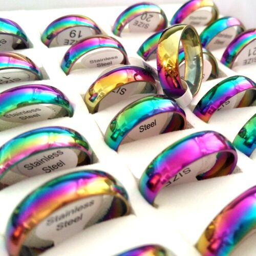 Bulk Lots 100pcs Stainless Stee 6MM Rainbow Band Ring Classic Jewelry Size Mixed