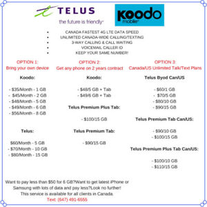 KOODO/TELUS $49/6GB $65/10GB PLANS.....!