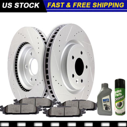 Fit 2005-2009 Ford Mustang Front Rear Rear Slotted Brake Rotors+Ceramic Pads