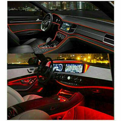 LED Fiber Optic Interior Lights 12V 4LED Ambient Lamp Red Car Interior Decor DIY