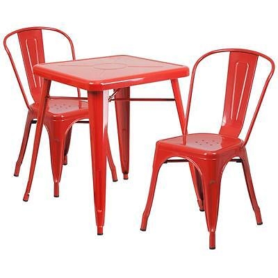 Red Metal Restaurant Table Set With 2 Stack Chairs