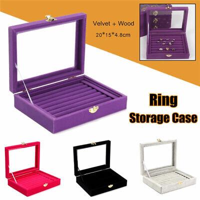 Velvet Glass Jewelry Ring Display Earring Storage Organizer Box Tray Holder USA ()