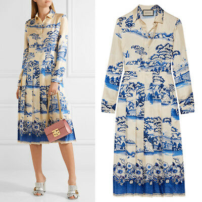 sz 36 NEW $3980 GUCCI Ivory Silk PORCELAIN GARDEN Twill Pleated Skirt MIDI DRESS