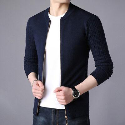 - Men's Slim Fit Collar Zipper Sweater Cotton Knitted Cardigan Jumper Coat Jackets