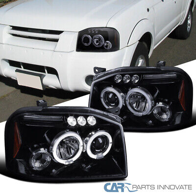 For 01-04 Nissan Frontier Glossy Black LED Halo Smoke Projector Headlights -
