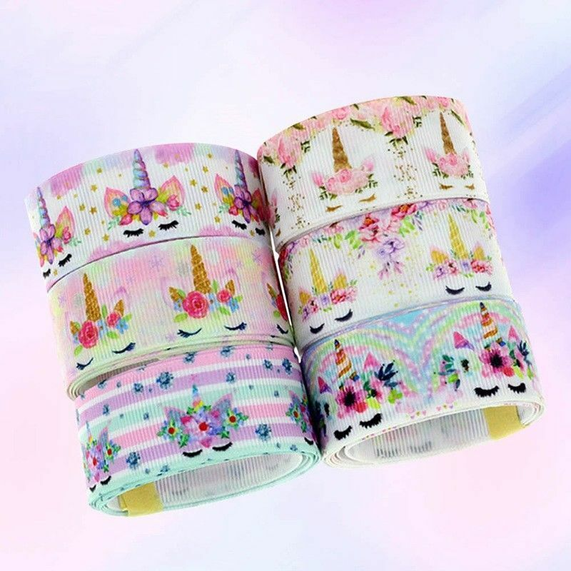 как выглядит Лента и бант 5 Yards Rainbow Unicorn Printed Grosgrain Ribbon Polyester Hairbow Unique фото
