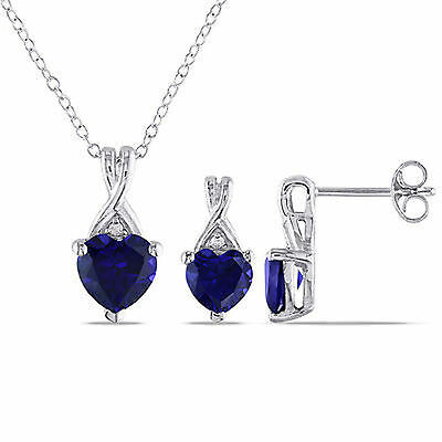 Sterling Silver 2-piece Set of Sapphire and Diamond Necklace and Stud Earrings
