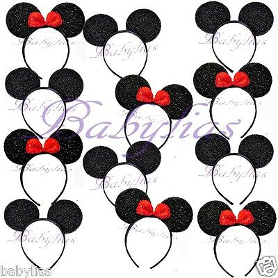12 Minnie Mouse Ears Sparkly Mickey Mouse Headbands RED Bows Shimmer Favors](Minnie Mouse Mickey Mouse)