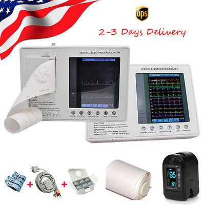 12-lead Digital 3channel Electrocardiograph Ecgekg Machine W Interpretation Ce