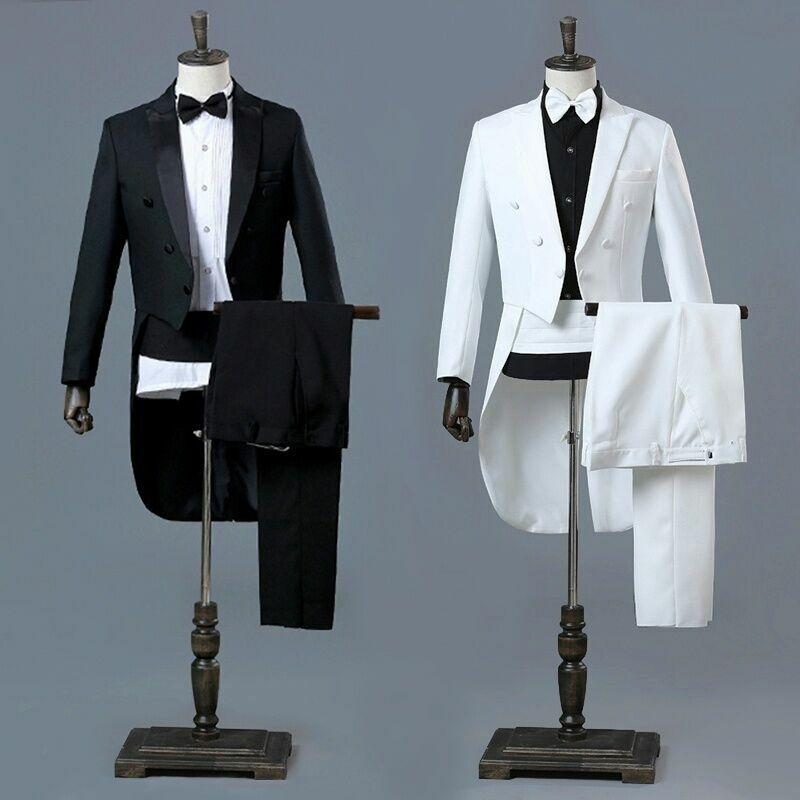 UOMO VISIERA BAVERO FRAC ABITO e pantaloni Set da Cerimonia Matrimonio Smoking