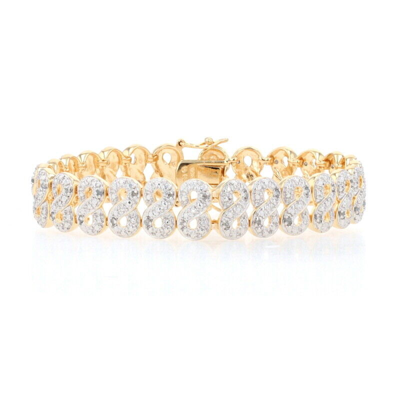 """Sterling Diamond Infinity Link Bracelet 7 1/4"""" - 925 Gold Plated Round 1.00ctw"""