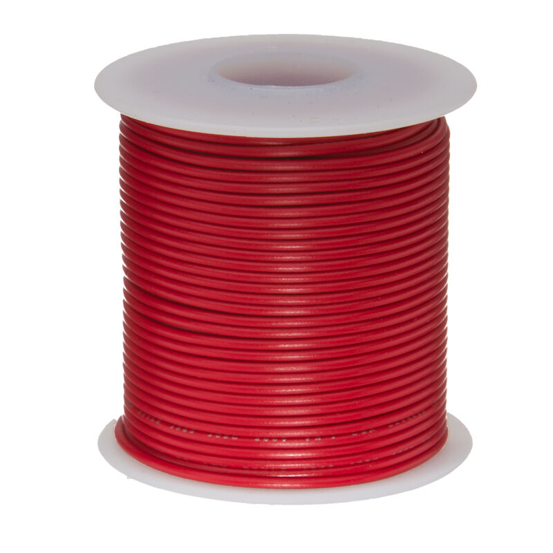 "22 AWG Gauge Solid Hook Up Wire Red 100 ft 0.0253"" UL1007 300 Volts"