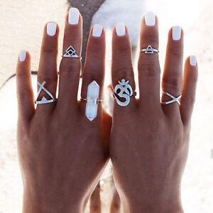 6Pcs/Set Boho Geometric Snake Silver Gold Tone Tribal Ethnic Midi Knuckle Rings