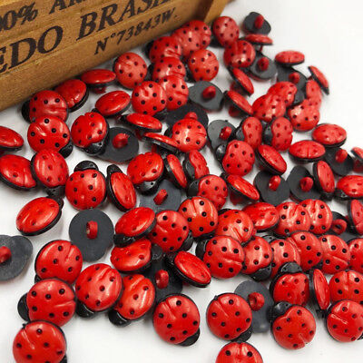 New 20/50/100/500pc Red ladybug DIY Kid's appliques/craft/sewing buttons PT64 (Craft Buttons)