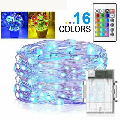 Outdoor Solar Powered 16ft 50 LED Copper Wire Light String 16 Color Changing