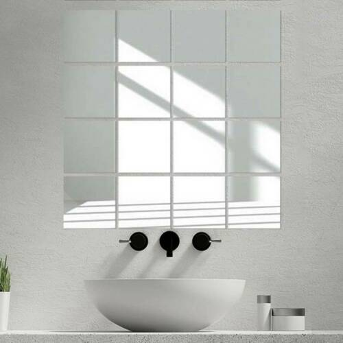 Home Decoration - 9X Glass Mirror Tiles Wall Sticker Square Self Adhesive Stick On Art Home Decor
