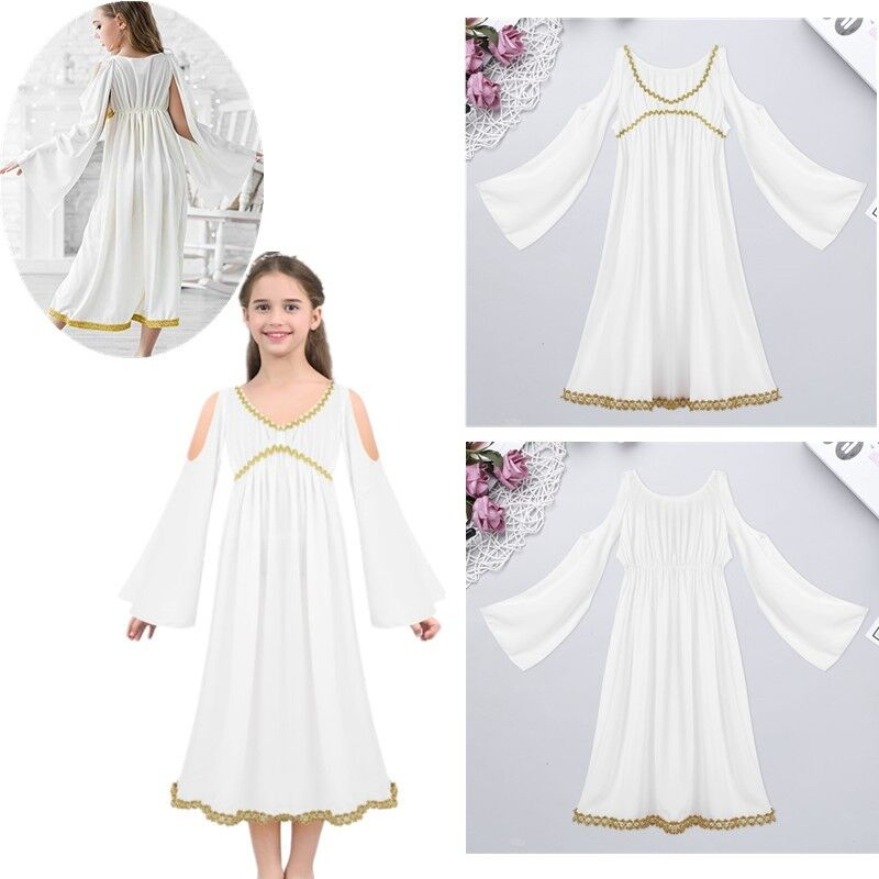 e6adec4fede19 Details about Kids Girls Greek Goddess Halloween Costume Aphrodite Athene  Dress Up Role Play