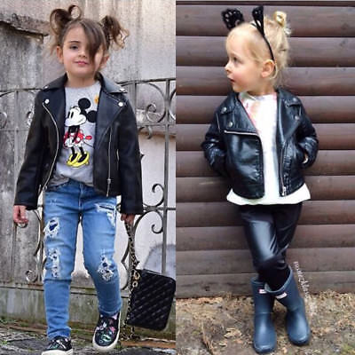 US Kid Girl Motorcycle PU Leather Jacket Biker Overcoat Fall Winter Toddler Coat
