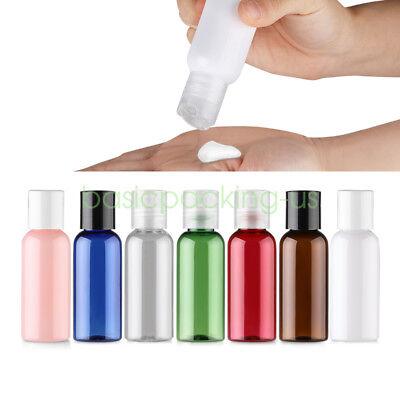 Lot 50ml Travel PET Refillable Lotion Bottle Disc Cap Cosmetic Creme Container