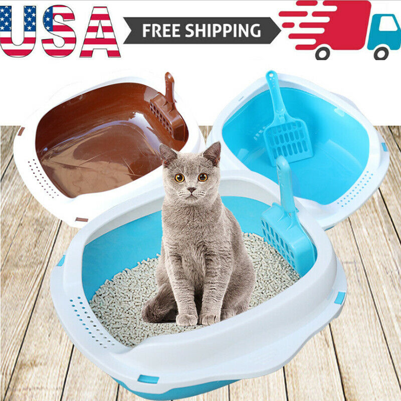 US Detachable Cat Litter Box Sand Box Anti-Splash Cat Tray Litter Pan with Scoop