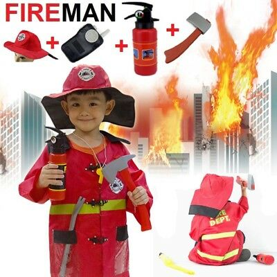 Fireman Sam Halloween Costumes (Fireman Sam Costume kids Halloween Costume Girl Boy Hat ax Fire)
