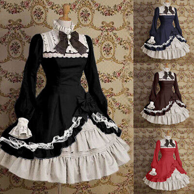 Mittelalt Lolita Mädchen Frauen Anime Rüschen kleid Party Palast Cosplay Kostüm ()