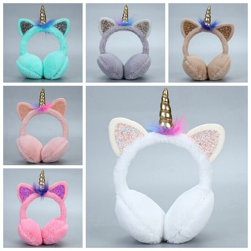 Unicorn Winter Thick Warm Plush Fluffy Ear Muffs Head Design
