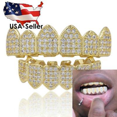 BEST 18K Gold Plated GRILLZ High Quality CZ Top & Bottom SET Teeth Grills ICY