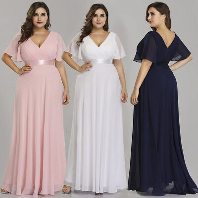 US Plus Size Long Formal V-neck Evening Party Dresses Christmas Prom Gowns 09890 (Adult Christmas Dress)