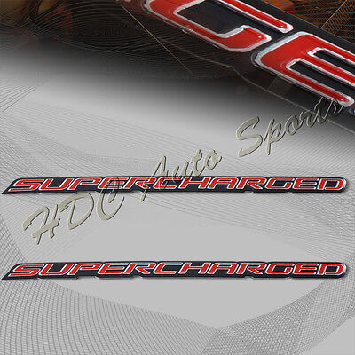 2 x Universal Red Supercharged Aluminum Adhesive Sticker Decal Emblem Badge