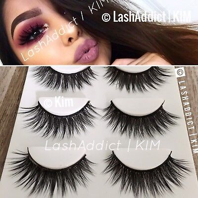 💕 Fur Mink Lashes Lilly Eyelashes 3D Makeup New 3 Pair ! 💕 US SELLER
