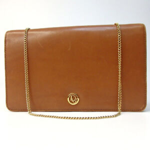 DIOR brown leather gold chain bag (AUTHENTIC)
