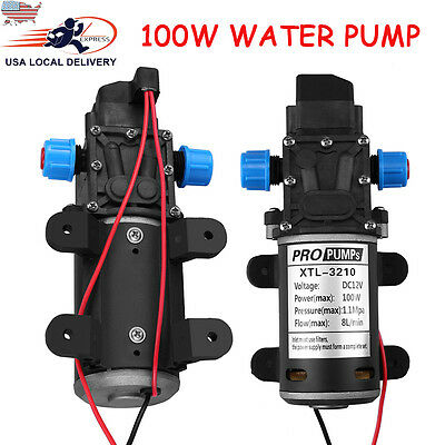 12v 100w 8lmin 160psi High Pressure Diaphragm Self Priming Water Pump For Wash