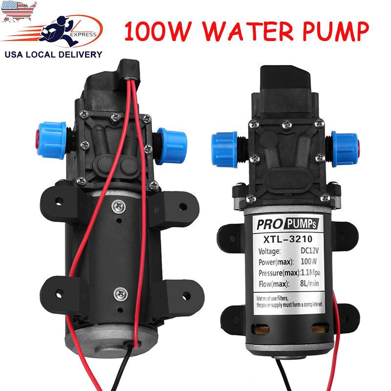12V 100W 8L/Min 160Psi High Pressure Diaphragm Self Priming Water Pump for Wash