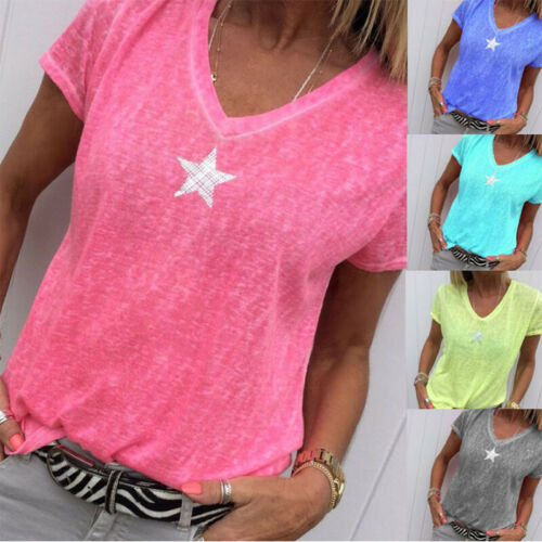 Summer Women Solid T Shirt V-Neck Short Sleeves Tops Loose C
